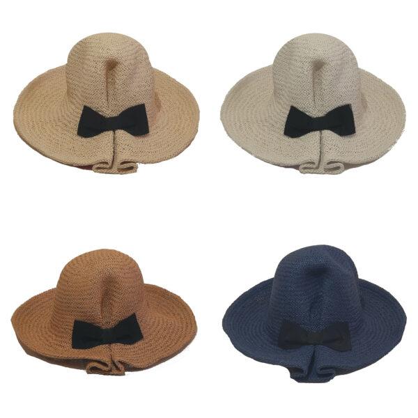 Γυναικείο Ψάθινο Χειροποίητο Καπέλο Μονόχρωμο Με Φιόγκο