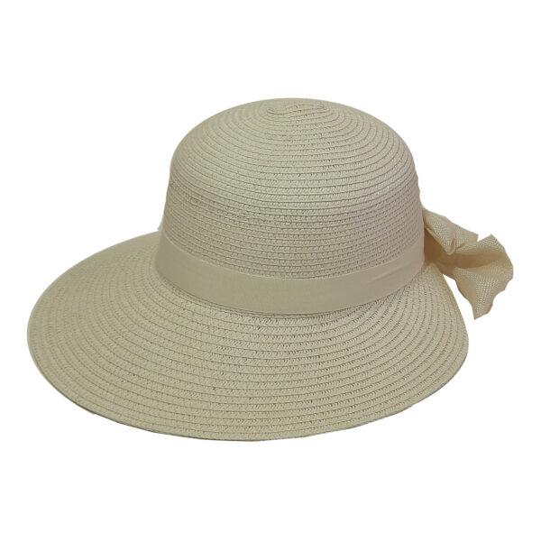 Γυναικείο Ψάθινο Καπέλο Μονόχρωμο Με Μικρό Γείσο