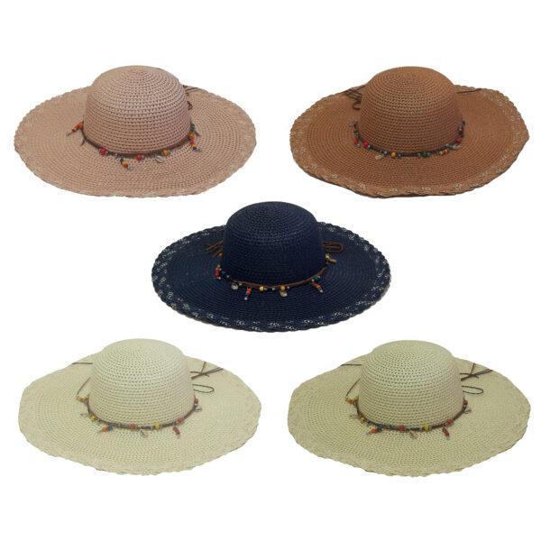 Γυναικείο Ψάθινο Καπέλο Με Πλατύ Γείσο