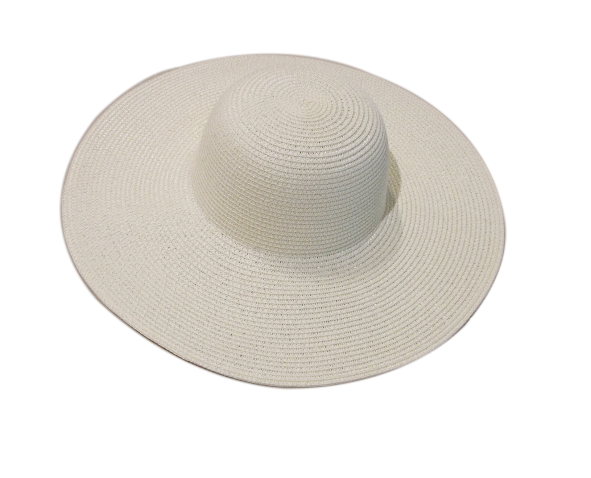 Γυναικείο Ψάθινο Καπέλο Μονόχρωμο Με Πλατύ Γείσο Εκρού