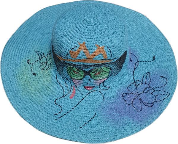 Γυναικείο Ψάθινο καπέλο με πλατύ γείσο -Πολύχρωμο καπέλο ψάθινο