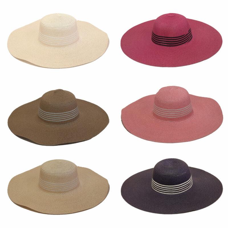 Γυναικείο ψάθινο καπέλο με γείσο
